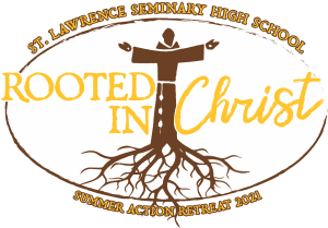 summer action retreat logo showing jesus with his arms outstretched and roots growing from him